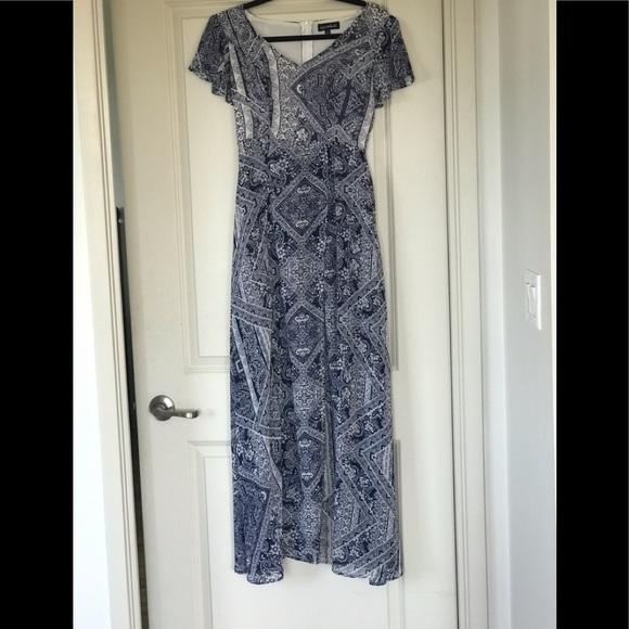 White and island blue dress